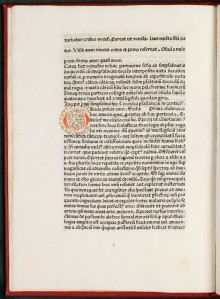 Like most books published in the incunable period, this book has had the initial capitals rubricated by hand.