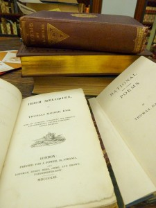 "Copies of ""Irish Melodies"" by Thomas Moore and ""National and Other Poems"" by Thomas Davis."