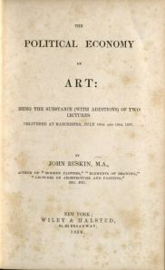 Title page from Ruskin's Political Economy of Art.