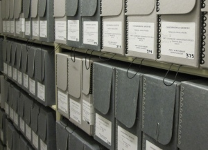 The bulk of the Thomas P. O'Neill, Jr. Congressional Papers are stored in one physical location in fairly uniform boxes. This is what they look like in the Burns Library stacks.