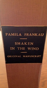 The box containing the manuscript of Shaken in the Wind by Pamela Frankau, part of the Burns Library's collection of her papers.