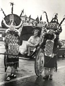 Photograph of Eleanor Early riding a rickshaw in Durban, South Africa, Eleanor Early Papers, MS1995-05, Box 14, Folder 21, John J. Burns Library, Boston College.