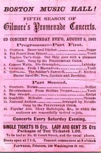 Gilmore's Promenade Concert program, 1861, Michael Cummings Collection of P.S. Gilmore Materials, Box 1, Folder 15, John J. Burns Library, Boston College.