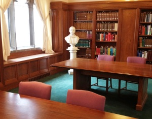 A bust of Irish poet, fiction writer and journalist John Boyle O'Reilly (1844 - 1890) surveys the Reading Room at the John J. Burns Library.