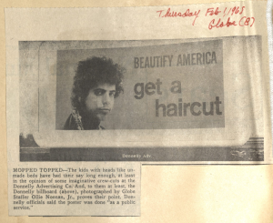 A Boston Globe article about Donnelly Advertising's 1968 billboard. John Donnelly & Sons records, MS.2012.004, Box 32, Volume 2, John J. Burns Library, Boston College.