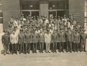 Class photograph of the Third Institute of Correctional Administration at George Washington University, 1953. Gill pictured first row center. Howard Belding Gill papers, MS. 1995.018.