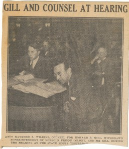 A newspaper clipping shows a younger Gill and his lawyer at the state hearing in 1934, where Gill unsuccessfully defended his actions as Norfolk superintendent.  Howard Belding Gill papers, MS.1995.018.