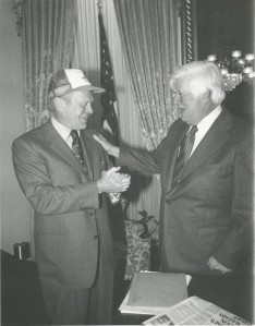 Tip O'Neill and Gerald Ford in the Speaker's Office circa 1977, Box 458, Folder 21, Photo 4, Thomas P. O'Neill, Jr. Congressional Papers, CA2009-01, John J. Burns Library, Boston College.