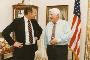 Tip O'Neill and President George H. W. Bush in the Speaker's Office on February 23, 1983, Box 458, Folder 26, Thomas P. O'Neill, Jr. Congressional Papers, CA2009-01, John J. Burns Library, Boston College.