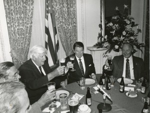 Tip O'Neill and President Reagan raise a glass together at the St. Patrick's Day Luncheon on March 17, 1980, Box 462, Folder 3, Thomas P. O'Neill, Jr. Congressional Papers, CA2009-01, John J. Burns Library, Boston College.