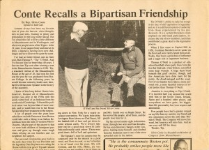 An article Conte wrote about his friendship with O'Neill in the newspaper Roll Call, Box 404, Folder 12, News 1, Thomas P. O'Neill, Jr. Congressional Papers, CA2009-01, John J. Burns Library, Boston College.