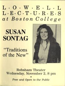 Susan Sontag Poster, Humanities Series Director's Records, Folder 8, Box 45, MS 2002-37, John J. Burns Library, Boston College.