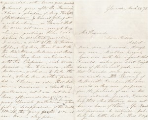 Ann Babson's letter to Elizabeth Hayward recounting her experience of the convent fire, March 25, 1878. Elizabeth Hayward Collection of Ursuline Academy Materials, MS.2011.027, John J. Burns Library, Boston College.