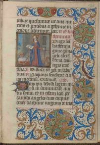 St. Catherine, Connolly Book of Hours, folio 155 recto, MS1986-097, John J. Burns Library, Boston College.
