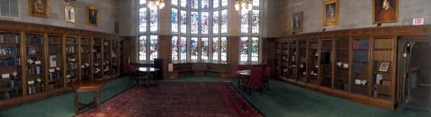 "The Francis Thompson Room in all its glory - in the center you can see the ""Epic Poetry"" stained glass windows while the bookcases on either side contain books by or about Thompson, his benefactors the Meynells and Coventry Patmore."