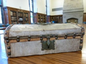 Hayward packed all of her letters and memories about the Ursuline Academy into this small, charming vellum-covered wooden trunk.