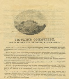 The 1830 prospectus for the Ursuline Academy school.