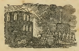 The burning of the Ursuline convent, as depicted in An Account of the Conflagration of the Ursuline Convent (Boston, 1834).