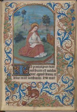 This illumination introduces the Gospel passages. St. John is shown, accompanied by his symbol, the eagle, and seated on the Greek Isle of Patmos where he received divine inspiration for the Book of Revelation, folio 15 recto, Connolly Book of Hours, MS1986-097, John J. Burns Library, Boston College.