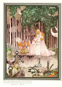 """Illustration from the story """"the Lassie and Her Godmother"""", Illustration by Kay Nielsen from East of the Sun and West of the Moon, published by Hodder & Stoughton in London, 1914."""
