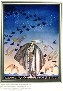 """Illustration by Kay Nielsen from the story """"The Three Princesses in the Blue Mountain"""" from the book East of the Sun and West of the Moon."""