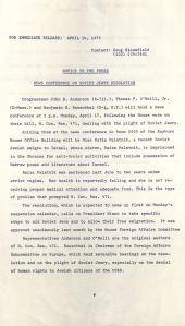 Press Release on Soviet Jewry Resolution, April 14, 1972, Box 184, Folder 54, Thomas P. O'Neill, Jr. Congressional Papers, CA2009-01, John J. Burns Library, Boston College.
