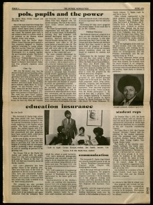 A page from the June 1975 copy of the Jeremiah Burke High School Newsletter of the Student Bi-Racial Council, featuring an article about a student appointed to the CCC.