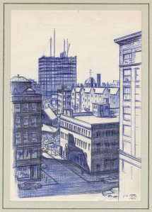 Demolished buildings and the construction of new ones, like the Prudential Center, were frequent sketching subjects for Patten.