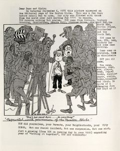 """""""Don't just stand there…Do something!"""" Boston Globe political cartoon reprinted in the Blackstone Square Community School annual, 1976."""