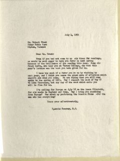 Letter from Father Sweeney to Robert Frost, July 4, 1962, Box 24, Folder 11, Francis W. Sweeney, SJ, Humanities Series Director's Records, MS.2002.037, John J. Burns Library, Boston College.