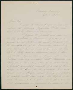 Letter from Daniel Chester French to James Jeffrey Roche dated September 1, 1893, James Jeffrey Roche Letters, Box 1, Folder 13, MS. 1986.041, John J. Burns Library, Boston College.