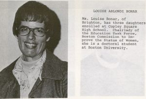 Louise Bonar from the Citywide Coordinating Council Annual Report, 1975-1976, Box 28, Folder 3, Louise Bonar and Carol Wolfe Collection of Boston Educational Materials, MS.1989.30-28-3, John J. Burns Library, Boston College.Louise Bonar from the Citywide Coordinating Council Annual Report, 1975-1976, Box 28, Folder 3, Louise Bonar and Carol Wolfe Collection of Boston Educational Materials, MS.1989.30-28-3, John J. Burns Library, Boston College.