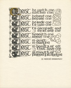 Card with black pen-and-ink Celtic design and text of Saint Patrick's Breastplate prayer, Box 1, Folder 1, Eva McKee Collection (MS.2005.06), John J. Burns Library, Boston College.