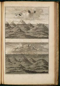 """Submerged Mountains"",  which depicts the Ark settling in the aftermath of the Flood, is one of the engravings signed by Coenraet Decker in the Arca Nöe."