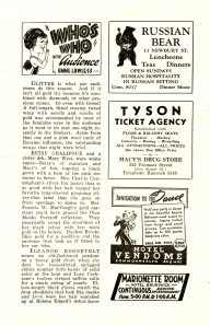 """A """"Who's Who in the Audience"""" column from a December 1938 Colonial Theatre program for Merchant of Yonkers makes a note of Eleanor Roosevelt's pendant selection."""