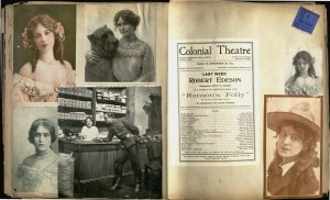 A page from Bruce J. Browning's scrapbook, vol. 1904-1906, showcases a theater playbill alongside photos of some of the cast members.