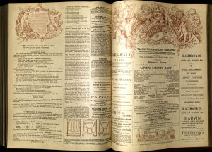 A 1891 playbill for Daly's Theatre in New York has information about the production currently on stage as well as a few jokes, the company's vacation dates, and a variety of advertisements.