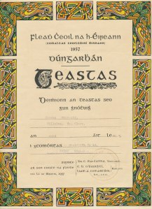 Under-14 Munster fiddle award, CCÉ, 1957.  Séamus Connolly Papers. IMC.M064, Irish Music Archives, John J. Burns Library, Boston College.