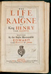 The title page of Edward Herbert's history of Henry VIII.