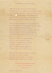 "John L. Sullivan's well-known poem, ""A Recitation or Toast to Women,"" undated. Box 1, Folder 27, John Lawrence Sullivan Papers, MS.2012.013, John J. Burns Library, Boston College."