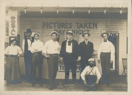 John Lawrence Sullivan with unidentified people at Coney Island, circa 1890s-1910s. Box 2, Folder 2, John Lawrence Sullivan Papers, MS.2012.013, John J. Burns Library, Boston College.