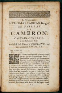 The book is dedicated to Sir Thomas Fairfax, an officer in the Parliamentary army.