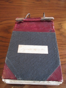 Elizabeth Winslow's course notebook. While notes about nurses' duties and medical science make up the bulk of the notes, recipes for patient-friendly foods are also included.
