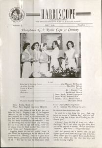 The New England Deaconess School of Nursing student newsletter, Harriscope, reports on the freshman capping ceremony for 1948.