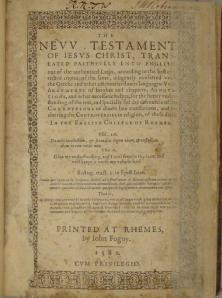 Title page from the 1582 edition of the New Testament held by the John J. Burns Library of Rare Books and Special Collections.