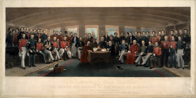 Signing and Sealing of the Treaty of Nanking Engraving by F.G. Moon, 1846, Anne S.K. Brown Military Collection, Brown University Library.