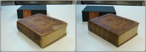 Before and after: in the image on the left, you see the Carey Bible before conservation treatment, on the right is an image of the same book after conservation treatment.