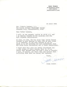 Letter from Isaac Asimov to Father Sweeney, Box 3, Folder 67, MS.2002.037, Humanities Series Director's Records, John J. Burns Library, Boston College.