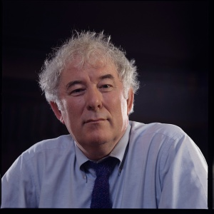 Seamus Heaney at home in Dublin, 1996. Bobbie Hanvey, photographer, Image bh002336, Bobbie Hanvey Photographic Archives, John J. Burns Library, Boston College.  This image is part of a series of images found at: hdl.handle.net/2345/912.