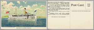 Front and back of a 1908 postcard advertising the Boston Floating Hospital. This postcard is now on display as part of the Common Boston exhibit.